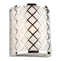 Artcraft Lighting - Artcraft Lighting Trellis Modern / Contemporary Wall Sconce X-169CS - The Trellis Collection by Steven & Chris, features a high quality chrome plated metal criss cross design, cover a hard back linen shade. Wall Sconce Shown