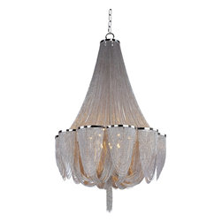 Maxim Lighting - Maxim Lighting Chantilly Transitional Chandelier X-NPKN86412 - The Maxim Lighting Chantilly transitional chandelier looks great in entryways or other living spaces. This light fixture offers a metal frame which is gracefully draped with a jewelry chain made from Nickel. With metal trim rings of polished nickel, the contrast offered by this fixture gives any room a touch of elegance and softness.