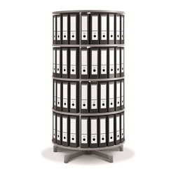 Empire Office Solutions - Moll Spin & File Binder Storage Carousel - Four Tier in White Wood w/ Laminate - Save office space with this fully rotating four tier binder storage shelving unit. With just a touch, the entire circular shelving column turns in a full rotation. Four shelf tiers keep binders, books and media in easy reach. The sturdy top offers a bonus storage surface.