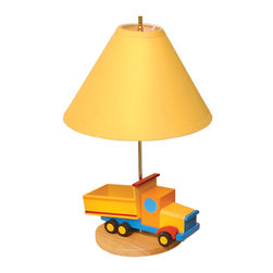 Dump Truck Lamp - Our Dump Truck Lamp looks like a real 3D truck -- perfect for any little trucker.  Wood base, fabric shade and brass finished fixtures.