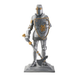 Summit - Silve and Gold Crusader Knight with Shield Figurine - This gorgeous Silve and Gold Crusader Knight with Shield Figurine has the finest details and highest quality you will find anywhere! Silve and Gold Crusader Knight with Shield Figurine is truly remarkable.