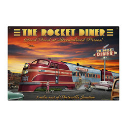 Past Time Signs - Rocket Diner Metal Sign 36 x 24 Inches - - Width: 36 Inches
