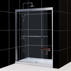 "Dreamline - Duet 56 to 60"" Frameless xpass Sliding Shower Door, Clear 5/16"" Glass Door - The Duet shower door combines high quality materials with a sleek frameless design for an amazing value. The bypass shower doors slide effortlessly on perfectly engineered guide rails allowing entry into the shower from either side. For an easy installation the shower door offers a total of 1 in. in out-of-plumb adjustments, while the top and bottom guide rails may be trimmed down up to 4 in. in width."