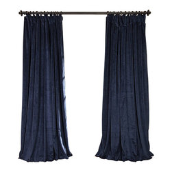 Exclusive Fabrics & Furnishings, LLC - Signature Midnight Blue Doublewide Blackout Velvet Curtain - 100% Poly Velvet. 3 Pole Pocket. Plush Blackout Lining . Imported. Dry Clean Only.