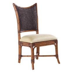 Lexington - Tommy Bahama Home Island Estate Mangrove Side Chair - Embrace island dining with the natural influence of woven back styling in the beautiful Plantation finish. The upholstered seat is standard in Macadamia, a basket weave pattern in a golden sand coloration. See store for additional fabrics.