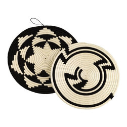 Sisal Trivet Set - These are hot, hot, hot pads! Black and white/cream gets me every time. I love the pattern, the colors, and even the little hook that allows you to hang them on your wall while they are not being used. These hot pads are art. I want them in my kitchen now.