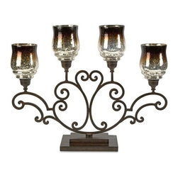 "IMAX - Middleton Centerpiece - The deep chocolate tone of the hurricane  has an ombre effect and fades into the classic mirrored finish of mercury glass, giving this oversized candelabra a dramatic appearance. Holds pillar candles.  Item Dimensions: (22""h x 7""w x 28"")"