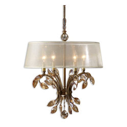 Uttermost - Alenya 4-Light Gold Metal Chandelier - The right lighting defines your space. And this chandelier sends an unmistakable message. Elegant, finely crafted and stately, this light will become the center of attention in any room in your home.
