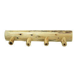Fireside Lodge Furniture - Cedar 24 in. Wall Coat Log Rack w 4 Pegs - Cedar Collection. Northern White Cedar logs are hand peeled to accentuate their natural character and beauty. Clear coat catalyzed lacquer finish for extra durability. 2-Year limited warranty. 24 in. W x 5 in. D x 4 in. H (3 lbs.)