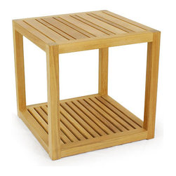 Westminster Teak Furniture - Maya Teak Side Table - The simplicity in its cubic form makes this teak side table very versatile in almost any setting.  Arrange several in a group as an alternative to a coffee table or use it as side table with the lounger.  They're sturdy enough to be used as impromptu seating with or without cushions.