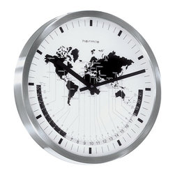 HERMLE - Hermle Airport Time Zone Wall Clock - Stainless steel frame
