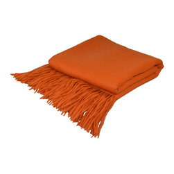"Pur by Pur Cashmere - Signature Blend Throw Hermes 50""x65"" With 6"" Fringe - Signature cashmere blend throw 10% cashmere / 80% wool / 10% microfine Dry clean only. Inner mongolia."