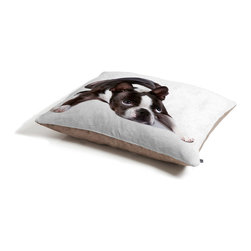 Susan Goddard Boston Terrier On White Dog Bed - Perfect for dogs, cats…heck, even a pig! With our cozy pet bed made of a fleece top and waterproof duck bottom, you're bound to have one happy animal catching some zzzz's in ultimate comfort.