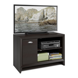 CorLiving - CorLiving Kansas Espresso Finish TV Bench - The CorLiving Kansas TV bench is an elegant addition to any modern decor. Constructed of medium density fiberboard in an espresso finish,this piece features one nickel finish hardware,one door and two open shelves.