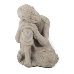 Repose Home - Dwelling Buddha - Our beautiful, resting Buddha will be ideal for a special place in your garden. Cast in elegant, stonewashed volcanic ash and weatherproofed for indoor or outdoor use.