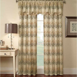 None - Elise Damask Jacquard 63-Inch Curtain Panel Pair - Dress up any window with this 63-inch damask curtain panel pair from Elise that features a 100 percent polyester machine-washable construction. The woven jacquard fabric design contains neutral colors and complementary beaded trim for extra elegance.