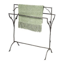 Rustic Twig Quilt Rack - Add a natural flair to your decor with the Rustic Twig Quilt Rack. This piece including the twig design is hand-forged from natural black wrought iron. Expert blacksmiths craft this quilt rack here in the U.S.A.