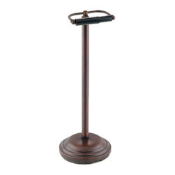 None - Oil Rubbed Bronze Pedestal Toilet Tissue Holder - Enhance your bathroom decor with this bronze pedestal toilet tissue holder. Standing at 22 inches high, this pedestal can hold one roll of standard size toilet tissue.