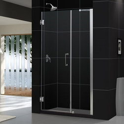 "DreamLine - DreamLine SHDR-20427210C-01 Unidoor Shower Door - DreamLine Unidoor 42 to 43"" Frameless Hinged Shower Door, Clear 3/8"" Glass Door, Chrome Finish"
