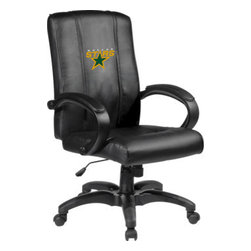 Dreamseat Inc. - Dallas Stars NHL Home Office Chair - Check out this Awesome - it's one of the coolest things we've ever seen. Features a zip-in-zip-out logo panel embroidered with 70,000 stitches. Converts from a solid color to custom-logo furniture in seconds - perfect for a shared or multi-purpose room. Root for several teams? Simply swap the panels out when the seasons change. This is a true statement piece that is perfect for your Man Cave or Home Office, and it's a must-have for the person who wants to personalize their work space.