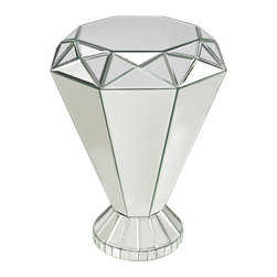 Sterling Industries - Mirrored Accent Side Table - Individual mirror pieces are hand cut and beveled to create this multi-dimensional side table. Sturdy and functional it is prefect next to a sofa to create interest and reflect light.