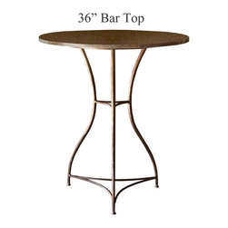 Savoy Bar Height Table with 36in. Diameter Top by Charleston Forge - Dimensions: (diameter x height)