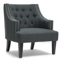 "Baxton Studio - Baxton Studio Millicent Gray Linen Arm Chair - Your living room won??????t know what hit it.  Our Millicent Tufted Arm Chair is a stately, refined accent chair with abundant detail: tufted backrest, silver nailhead trim, and beautiful dark gray linen upholstery.  Enjoy a solid birch frame with black legs, non-marking feet, and plush foam cushioning.  This Chinese-made modern living room chair requires assembly and should be exclusively spot cleaned. Arm height: 7""Seat dimensions: 18"" H x 22.5"" W x 22"" D"