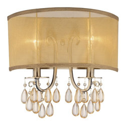 "Crystorama - Crystorama Hampton Collection 13"" High 2-Light Wall Sconce - This stylish modern and minimal wall sconce features a custom made translucent shade crafted from high-quality silk fabric in gold shimmer. The contemporary wall sconce design has extra sparkle with clear smooth crystal jewels draped from the antique brass finish metal frame. From Crystorama. Antique brass finish. Silk fabric shade. Smooth clear crystal. Takes two 60 watt candelabra bulbs (not included). 13"" high. 14"" wide. Extends 6"" from the wall.  Antique brass finish.   Silk fabric shade.   Smooth clear crystal.   Takes two 60 watt candelabra bulbs (not included).   13"" high.   14"" wide.   Extends 6"" from the wall."