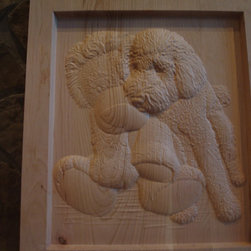 Wall Art - Goldendoodle...Favorite Pet Wood Custom Carving  by Gary Peck (SOLD:  not for sale)