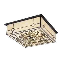 ELK Lighting - ELK Lighting 70007-2 Adamson Two-Light Flushmount Ceiling Fixture - Handsome Filigree Design Incorporated With Cream Art Glass Serves As An Entrancing Source Of Light And Art.� Hardware Finished In Matte Black.Specifications: