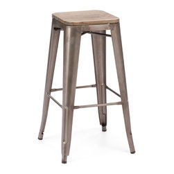 ZUO ERA - Marius Bar Chair Rustic Wood (set of 2) - Seen in popular bistros in France, the Marius bar and counter chair will transform your space into a caf in Paris. The stool is electrical plated.