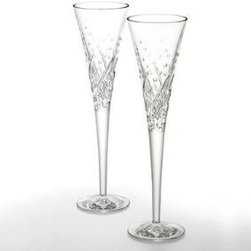 Waterford Wishes Toasting Flutes Happy Celebrations Pair - One of my most treasured wedding gifts is a set of Waterford Crystal toasting flutes just like these. Waterford Crystal originated in Ireland.