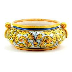 Artistica - Hand Made in Italy - Siciliana Sciacca: Round Centerpiece Bowl - Siciliana Sciacca Collection