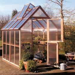 Sunshine Mt. Hood 6 x 8 Foot Greenhouse Kit - Additional FeaturesDoor measures 28W x 78H inchesPeak height measures 8.4 feetComes with 8-feet of wood stagingStaging runs the length of the greenhouseStaging gives you versatility and more planting spaceIncludes a 12L x 12H foot shade coverCools your greenhouse up to 15 degreesReduces the amount of sunlight, aiding in plant growthCan double as a windscreen in the colder monthsDoes not take long to assembleIncludes printed instructions and an assembly videoComes with a 5-year warrantyComplete with a shade cover and wood staging, the Sunshine Mt. Rainier 6 x 8 Foot Greenhouse Kit is a great starter greenhouse and is ideal for anyone who wants to grow their own fresh produce and plants. The 4-feet of wood staging increases your growing space and can double as a work area. Made with two vents with automatic openers and Dutch doors, you can be sure that there will be plenty of air circulation to help keep your plants healthy. The Dutch doors, which also help you to keep small animals out, as well as the base are made from recycled plastic. The included shade cover gives you greater control over the climate of your greenhouse and can double as a windscreen in colder weather. Crafted from beautiful, natural, and sturdy redwood, the preassembled panels are made from twin polycarbonate which helps to protect your plants. The greenhouse measures 8L x 6W x 8.4H feet and comes with printed instructions as well an assembly video and a five-year warranty.