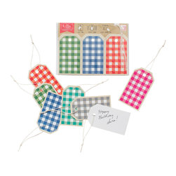 Yellow Owl Workshop - Set of 6 Gingham Gift Tags - An inventive format with 6 tags and strings. Use these colorful tags as gift tags, place cards, glass tags, and anything else you can think of! Quality linen cardstock, with holes punched to attach cotton strings, are perforated at the top for easy removal.