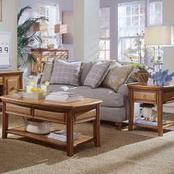 American Drew - American Drew Antigua 3 Piece Coffee Table Set in Toasted Almond - Antigua combines popular materials, finishes, hardware and shapes and blends them with pieces for today's lifestyles. It is a collection sure to add a sophisticated coastal or tropical flare to any home. Unique options for bedroom make it easy to create the perfect setting that fits your style. - 931-910-3-SET.  Product features: Belongs to Antigua Collection by American Drew; Crafted from select hardwood solids; Contains primavera veneers; Toasted Almond finish. Product includes: Cocktail Table (1); End Table (1); Sofa Table (1). 3 Piece Coffee Table Set in Toasted Almond belongs to Antigua Collection by American Drew.
