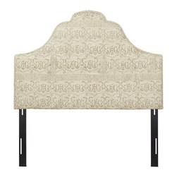 Jennifer Taylor Home - Sage Stone Washed Queen Headboard - An impressive silhouette and exquisite cotton stone washed upholstery ensures this headboard will become the focal point of any bedroom.