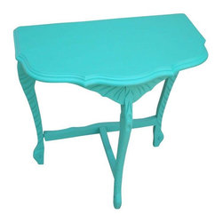 Vintage Demilune Turquoise Painted Table - An early 1900s demilune table updated with rich turquoise color. The table features beautiful carvings on the legs, which gives the piece a European look. Bring the French countryside into your home and add a pop of color that will elevate your style!
