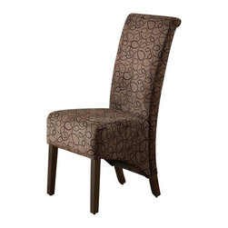 """Monarch Specialties - Monarch Specialties 1788BR Parson Chair in Brown Swirl Fabric [Set of 2] - With modern style at its finest, these chairs will help create a luxurious feel to your dining room. These brown swirl fabric covered chairs include high backs and swiveling seats, both designed for your comfort and convenience. The 40"""" high parson chair has cappuccino stained, solid wood legs. They will definitely be the topic of discussion and center of attention at all your casual or formal gatherings."""