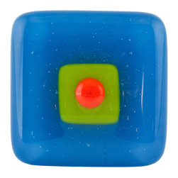 Vivien Hart - Norse Paint Knob - These fused glass knobs can add pizzazz to any room or special furniture piece. The knobs are lovingly handmade in my home studio. The object of these knobs is to bring art to a functional object that you can enjoy using every day. Each knob or pull is made using 2,3,4 or in some cases 5 layers of cut glass or glass powders. I often use clear glass either on top of or in between design layers to create a sense of depth. Several of my designs are also three-dimensional in nature. This requires them to be fired in multiple stages to create different effects. Some knobs are fired once while others are fired many times. The knob backing is made of a sturdy stainless steel and is hourglass shaped. The hardware does not cover the back completely thus allowing the glass knob to capture and reflect light. Matching pulls are available with some knob designs. Overall the knobs are consistent in size and color. However each piece is handmade so there may be slight variations between knobs.