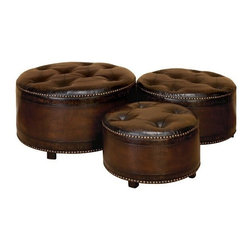 "Benzara - Set of 3 Dark Brown Round Leather Ottoman Footstools - Set of 3 dark brown round leather ottoman footstools. Sleek designer high quality leatherette foot stools. Solid wood frame with leatherette seat. Dimensions: Large 29"" W x 17"" H, medium 24"" W x 14"" H and small 20"" W x 12"" H."