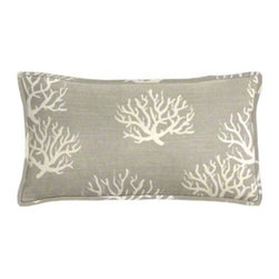 "Cushion Source - Coastal Gray Coral Lumbar Pillow - The 20"" x 12"" Coastal Gray Coral Lumbar Pillow features slubbed cotton duck fabric with a coral print in natural on a gray background."