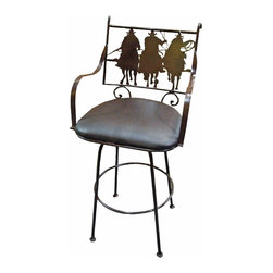 Tres Amigos Rustic Iron Bar Stool - Tres Amigos Iron Rustic Bar Stool. Solid iron bar stools with swivel top are perfect for any bar or breakfast bar home decor style. Lots of great designs. These are Heavy duty and ready for the elements. Faux leather, cushioned seat for long lasting durability. This stool Allows you to enjoy the elevated dining experience. Barstools are sold in pairs Only. Price is per barstool.