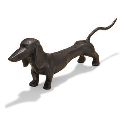 Kathy Kuo Home - Franklin Dark Bronze Hand Sculpted Dachshund Dog Sculpture - This dashing Dachshund is sculpted from iron and finished in a dark bronze patina.  Picture this polished pooch on an end table, mantle or even as a doorstop. This faithful friend makes a perfectly handsome addition to any dog lover's home.