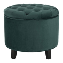 Lefferts Place Ottoman - Store away small items with the cleverly designed Lefferts Place Ottoman. Practical in form and function, the removable top features button tufts with rich marine-blue cotton. Oak legs with a fine espresso finish add supportive flair.