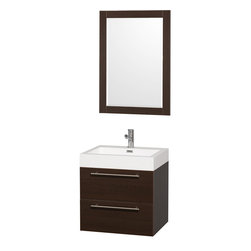 Wyndham - Amare 24in. Wall Vanity Set in Espresso w/ Acrylic-Resin Top and Integrated si - Modern clean lines and a truly elegant design aesthetic meet affordability in the Wyndham Collection Amare Vanity. Available with green glass or pure white man-made stone counters, and featuring soft close door hinges and drawer glides, you'll never hear a noisy door again! Meticulously finished with brushed Chrome hardware, the attention to detail on this elegant contemporary vanity is unrivalled.