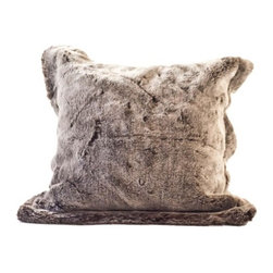 "Posh Pelts - Chinchilla Faux Fur Pillow Cover with Chocolate Brown Faux Suede Back - The Chinchilla faux fur pillow cover is so luscious and soft you wont be able to keep your hands off of it. Soft brown fibers are tipped silvery white, creating a shimmer to the fabric. This pillow cover exposes more silver-white tips than the Double Sided Chinchilla throw blanket (sold separately) which adds dimension to the pair when placed together on your sofa. The pillow cover has a 2 faux fur flange around all sides, chocolate brown faux suede backing, and a concealed zipper. PoshPelts faux fur throw blankets that complement the faux Chinchilla pillow cover are: Double Sided Chinchilla and Lynx. Other pillow covers that look nice with the Chinchilla are: Lynx. Features: -Pillow cover. -Content: faux fur 80-85% acrylic, 15-20% polyester: faux suede 100% polyester. -Add dimension and interest with matching or coordinating throws and pillow covers. -Faux fur front. -Chocolate brown faux suede back. -Concealed zipper. -Fits standard 16"" x 16"" insert: Has 2"" faux fur flange around all edges. -Fibers approximately 1/2"" in length. -Superior quality and craftsmanship. -Machine wash cold; no heat dry; dry cleaning recommended. -20"" H x 20"" W, 0.2 lb."