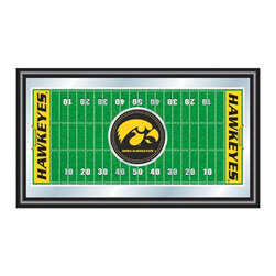 Trademark Global - Framed Football Field Mirror w University of - What a fantastic gift for Hawkeyes football fans.  This fabulous wall mirror features a football field design with the official University of Iowa team logo on the fifty yard line.  This stunning wall art is officially licensed by the NCAA so you know you are truly supporting your favorite team.  The bold graphics are intricately detailed, right down to the individual yard marks.  It's features a handsome black wood frame and  is a piece you'll be proud to display in your home. Great for gifts and recreation decor. Mirror with high quality print. Football field and logo are shown in bold color. Black wrapped wood frames. 26 in. W x 15 in. H (7 lbs.)This College Football Officially Licensed Mirror is the perfect gift for the Football Fan in your life. Full of color and detail this is a must have for your wall!