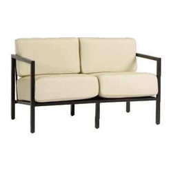 Woodard Salona Loveseat - Our Salona Loveseat by Joe Ruggiero is shown in the Midnight Finish with cushions in Antique BeigeAntique Beige Loveseat