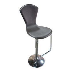 """Global Furniture USA - Christina Bar Stool (Set of 2) - This modern bar stool provides comfortable and stylish seating with adjustable heights. Features: -Material: PVC. -Contemporary style. -Upholstered vinyl. -Glossy silver finish. -Medium seating comfort. -Assembly required. -Limited 1 year warranty on finish, parts, fabric/cover, and mechanisms. -Overall dimensions: 38"""" - 45.5"""" Height x 18"""" Width x 16"""" Depth."""